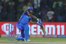 Shikhar Dhawan drives one through covers, Delhi Capitals v Mumbai Indians, IPL 2019, Delhi, April 18, 2019