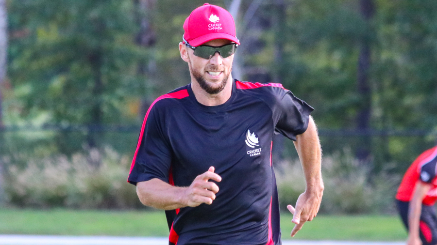 Davy Jacobs goes through a warm-up sprint in a Canada training session