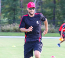 Davy Jacobs goes through a warm-up sprint in a Canada training session, Morrisville, September 19, 2018