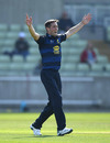 Chris Woakes spreads his arms in an appeal, Warwickshire v Yorkshire, Royal London Cup, North Group, Edgbaston, April 19, 2019