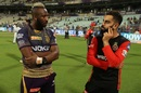 Andre Russell and Virat Kohli share a pensive moment, Kolkata Knight Riders v Royal Challengers Bangalore, IPL 2019, Kolkata, April 19, 2019