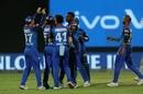 Delhi Capitals gather around Kagiso Rabada to celebrate a wicket, Delhi Capitals v Kings XI Punjab, IPL 2019, Delhi, April 20, 2019