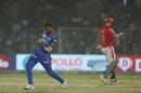 Axar Patel is pumped after dismissing David Miller, Delhi Capitals v Kings XI Punjab, IPL 2019, Delhi, April 20, 2019