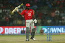 Chris Gayle raises his bat after reaching 50, Delhi Capitals v Kings XI Punjab, IPL 2019, Delhi, April 20, 2019