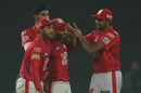 Mandeep Singh congratulated by team-mates after a direct hit, Delhi Capitals v Kings XI Punjab, IPL 2019, Delhi, April 20, 2019