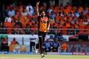Bhuvneshwar Kumar celebrates after a wicket, Sunrisers Hyderabad v Kolkata Knight Riders, IPL 2019, Hyderabad, April 21, 2019