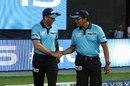 Rod Tucker and Vineet Kulkarni walk out onto the field, Royal Challengers Bangalore v Chennai Super Kings, IPL 2019, Bengaluru, April 21, 2019