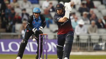 Steven Croft of Lancashire plays a defensive shot back along wicket