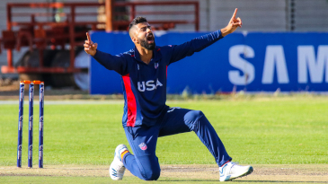 Ali Khan is elated after winning an lbw appeal