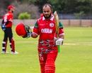 Zeeshan Maqsood walks off after notching another century for Oman, Canada v Oman, WCL Division Two, Windhoek, April 21, 2019