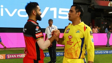 Virat Kohli and MS Dhoni greet each other