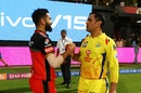 Virat Kohli and MS Dhoni greet each other, Royal Challengers Bangalore v Chennai Super Kings, IPL 2019, Bengaluru, April 21, 2019