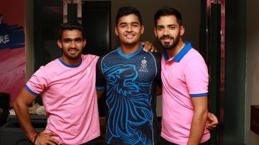 [L to R] Mahipal Lomror, Riyan Parag and Prashant Chopra, the Royals boys