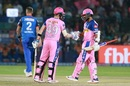 Steven Smith congratulates Ajinkya Rahane on reaching fifty, Rajasthan Royals v Delhi Capitals, IPL 2019, Jaipur, April 22, 2019