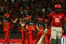 The Royal Challengers Bangalore players celebrate Chris Gayle's fall, Royal Challengers Bangalore v Kings XI Punjab, IPL 2019, Bengaluru, April 24, 2019