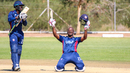 Xavier Marshall celebrates after bringing up his century off 153 balls, USA v Hong Kong, WCL Division Two, Windhoek, April 24, 2019