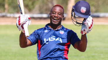 Xavier Marshall grins from ear to ear celebrating his century in style