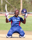 Xavier Marshall grins from ear to ear celebrating his century in style, Hong Kong v USA, WCL Division Two, Windhoek, April 24, 2019