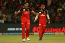 Marcus Stoinis and Virat Kohli are pumped after picking up a wicket, Royal Challengers Bangalore v Kings XI Punjab, IPL 2019, Bengaluru, April 24, 2019