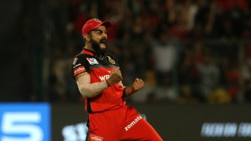 Virat Kohli is over the moon as a Kings XI Punjab wicket falls