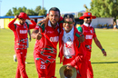 Fast bowler Kaleemullah and Oman Cricket director Pankaj Khimji celebrate Oman gaining ODI status, Namibia v Oman, WCL Division Two, Windhoek, April 24, 2019