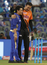Former India team-mates Sachin Tendulkar and VVS Laxman catch up, Mumbai Indians v Sunrisers Hyderabad, IPL 2018, April 24, 2018