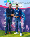 Ali Khan accepts the Man of the Match award for his career-best 5 for 46, Namibia v USA, WCL Division Two, Windhoek, April 21, 2019
