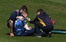 Sam Billings receives treatment after hurting his shoulder, Glamorgan v Kent, Royal London Cup, South Group, April 25, 2019