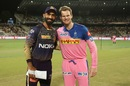 Dinesh Karthik and Steven Smith are all smiles at the toss, Kolkata Knight Riders v Rajasthan Royals, IPL 2019, Kolkata, April 25, 2019