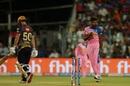 Varun Aaron is pumped after rearranging Chris Lynn's stumps, Kolkata Knight Riders v Rajasthan Royals, IPL 2019, Kolkata, April 25, 2019