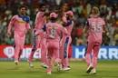 The Royals players converge on Varun Aaron after his early strike, Kolkata Knight Riders v Rajasthan Royals, IPL 2019, Kolkata, April 25, 2019