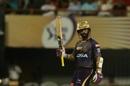 Dinesh Karthik raises his bat after reaching 50, Kolkata Knight Riders v Rajasthan Royals, IPL 2019, April 25, 2019