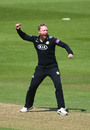 Gareth Batty celebrates dismissing Ross Taylor, Surrey v Middlesex, The Oval, April 25, 2019