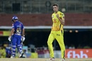 Mitchell Santner pumps his fist after getting a wicket, Chennai Super Kings v Mumbai Indians, IPL 2019, Chennai, April 26, 2019