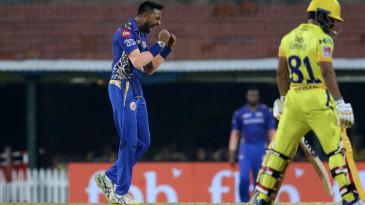 Krunal Pandya roars after getting Kedar Jadhav