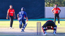 Wicketkeeper Srimantha Wijeyeratne looks down in agony as tailender Nosthush Kenjige's final-over boundary dropped Canada below PNG on net run rate tiebreaker, Canada v USA, WCL Division Two, Windhoek, April 26, 2019