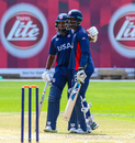 Aaron Jones (left) and Hayden Walsh shared in another USA record partnership for the fourth wicket against Namibia, Namibia v USA, WCL Division Two, Windhoek, April 21, 2019