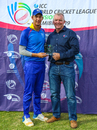 Namibia allrounder JJ Smit receives the Player of the Tournament award from former ICC board Associate representative Francois Erasmus, Namibia v Oman, WCL Division Two, Final, Windhoek, April 27, 2019