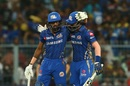 Krunal Pandya congratulates Hardik Pandya on raising his fifty, Kolkata Knight Riders v Mumbai Indians, IPL 2019, Kolkata, April 28, 2019