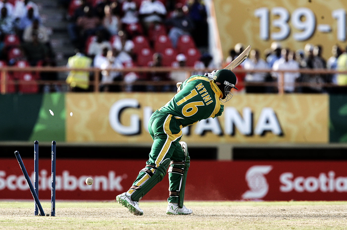 Makhaya Ntini is bowled by Lasitha Malinga, who took four wickets in four balls