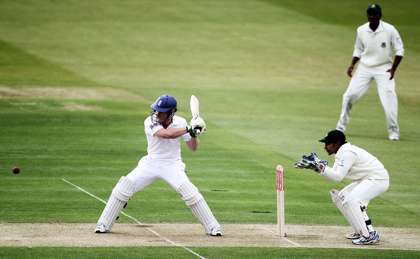 Morgan in his debut Test, against Bangladesh at Lord's in 2010