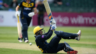Billy Root attempts an acrobatic shot