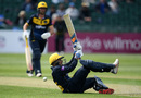 Billy Root attempts an acrobatic shot, Gloucestershire v Glamorgan, Royal London Cup, South Group, Bristol, April 30, 2019