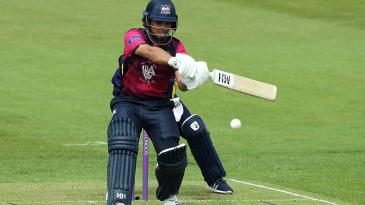 Ricardo Vasconcelos of Northamptonshire pulls the ball to the boundary