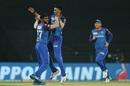 J Suchith and Shreyas Iyer celebrate Shane Watson's wicket, Chennai Super Kings v Delhi Capitals, IPL 2019, Chennai, May 1, 2019