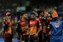 Rashid Khan congratulates Bhuvneshwar Kumar after Hardik Pandya's dismissal, Mumbai Indians v Sunrisers Hyderabad, IPL 2019, Mumbai, May 2, 2019