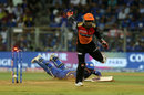 Wriddhiman Saha executes a backhand flick to hit the stumps, Mumbai Indians v Sunrisers Hyderabad, IPL 2019, Mumbai, May 2, 2019