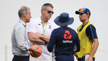 Ashley Giles discusses selection matters with England's Test captain, coach and selector