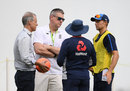 Ashley Giles discusses selection matters with England's Test captain, coach and selector, Antigua, January 29, 2019