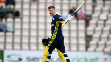 Tom Alsop acknowledges the crowd after reaching his century
